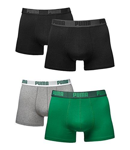 Puma Herren Boxer Basic Unterhosen 4er Pack in verschiedenen Farben 521015001 (black (230)/amazon green-grey (075), M)