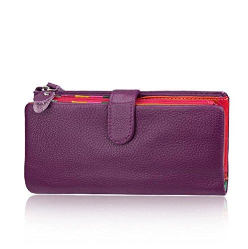 DcSpring Cartera Piel Genuino Tarjetero de Crédito Monedero Grande Carteras de Mano Cremallera para Mujer (Púrpura)