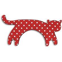 Leschi   Almohadilla de calor (para las cervicales y los hombros)   36794   La gata Minina   de pie   grande   Color: Rojo con lunares / Medianoche