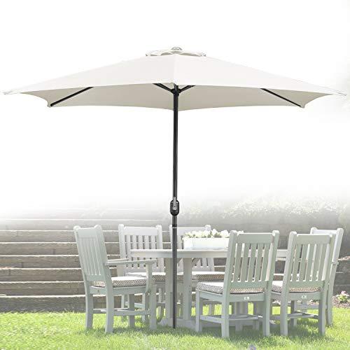 Wolketon Für Garten, Terrasse, Loggia, Balkon, Camping-Platz, Pool, Planschbecken 3.0m Beige Sonnenschirm Garten Schirm Marktschirm Ampelschirm Kurbel Schirm