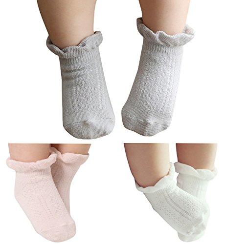 Happy Cherry - Lot de 3 paires de Chaussettes Chaussons à motif pour bébé  garçon fille 01ebf522fb9e
