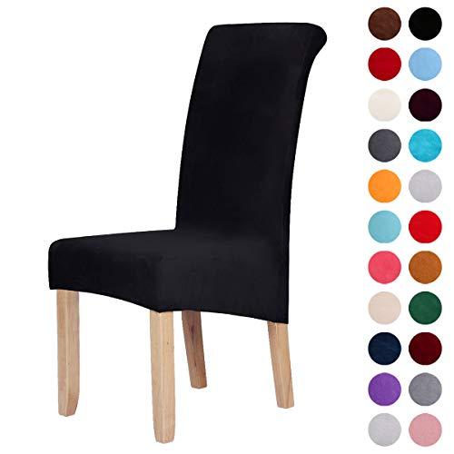 Homaxy Velvet Stretch Esszimmerstuhl Hussen - Spandex Plüsch Stuhlhussen Solide Großes Esszimmer Stuhl Protector Home Decor Set 2, Schwarz