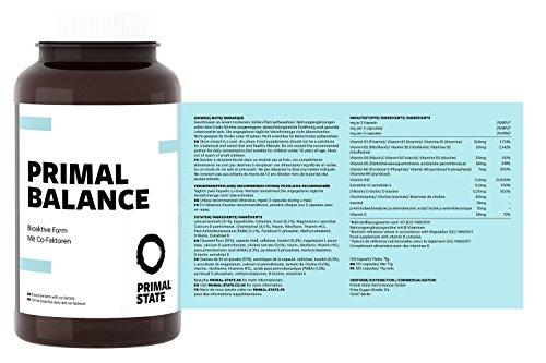 Vitamin B Komplex hochdosiert vegan | PRIMAL BALANCE | alle acht B-Vitamine | Bioaktiv & mit Co-Faktoren | B1, B2, B3, B5, B6, B12, D-Biotin & Folsäure | Premium | 120 Kapseln (2-Monatspackung)