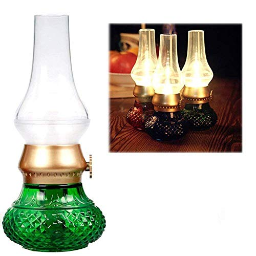 Adoudou Retro Blow Control keroseno lámpara sin Llama llevó luz Decorativa Recargable...
