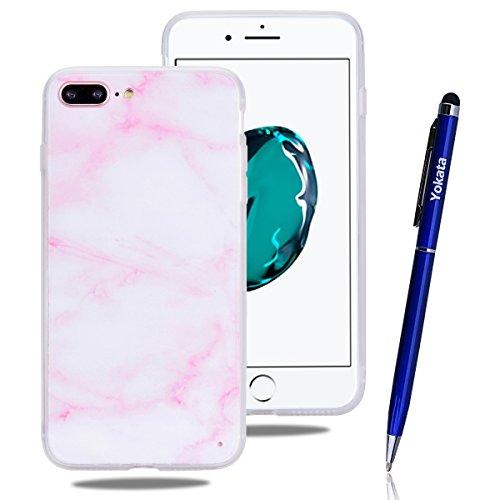 iPhone 7 Hülle, Yokata Weich TPU Soft Case mit Silikon Bumper Schutzhülle Dünne Case Cover + 1 X Stylus Pen - Flamingo Marmor 4