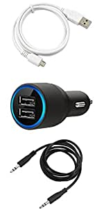 NIROSHA Cover Case Car Charger USB Cable for ASUS Zenfone 6 - Combo