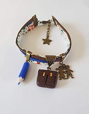 bracelet maitresse cadeau liberty cartable bleu et bronze cadeau original
