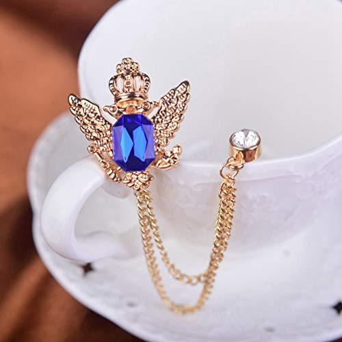 HEQIANGZS Charakteristische Eagle Crown Crystal Collar Pin Broch Pins für Männer Frauen Schmuck Zubehör Geschenke(None Dark Blue) (Women's Eagles Kostüm)