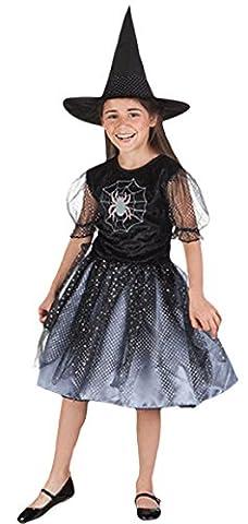 erdbeerloft - Mädchen Kostüm Karneval Spinne Hexe Spider Witch Zauberin, Schwarz, Größe 122-134, 7-9