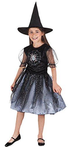 erdbeerloft - Mädchen Kostüm Karneval Spinne Hexe Spider Witch Zauberin, Schwarz, Größe 122-134, 7-9 Jahre (Mädchen Zauberin Kostüm)