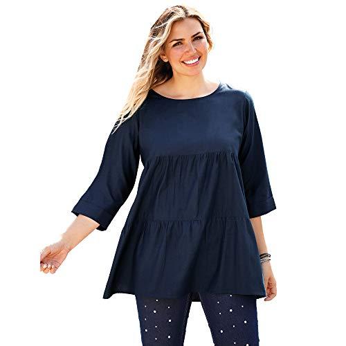 Blusa Cerrada en la Espalda por Botones de Perla de fantasía Mujer - 018838,Azul Marino,L