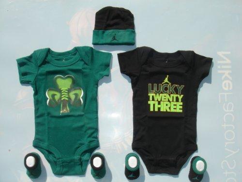 Jordania bebé Infant Set 0-6Meses Bodies para Patucos y Cap Onsie, Verde/Negro