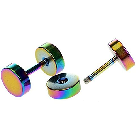 Cameleon-Shop - Boucles d'Oreille Faux Ecarteur Plug - Acier Inoxydable - Coloré - 3~14mm (6mm)