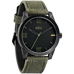 House of Marley 'Billet' Colour Military Unisex Quartz Watch with Black Dial Analogue Display and Green Fabric Strap WM-JA005-MT