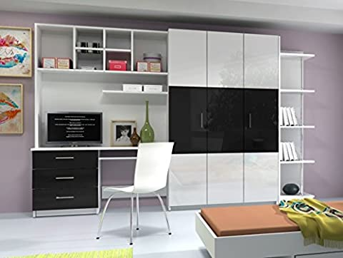 AALTO 3 WALL UNIT, OFFICE AT HOME, BEDROOM FURNITURE, HIGH GLOSS FRONTS, 4 COLOURS AVAILABLE (High Gloss White Fronts with Black Details)