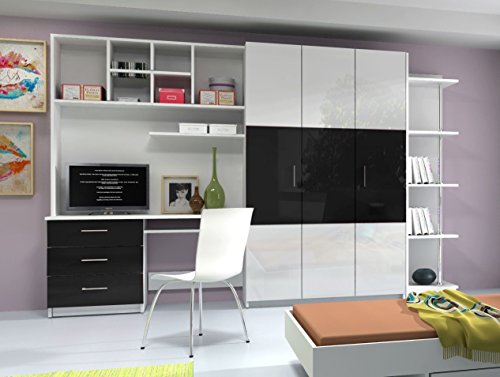 Ye Perfect Choice AALTO 3 WALL UNIT, OFFICE AT HOME, BEDROOM FURNITURE, HIGH GLOSS FRONTS, 4 COLOURS AVAILABLE (High Gloss White Fronts with Black Details)