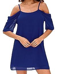 Guiran Mujer Larga Camiseta Camisa Blusa Playa Manga Corta Tirantes Vestido De Fiesta Playa Azul Zafiro