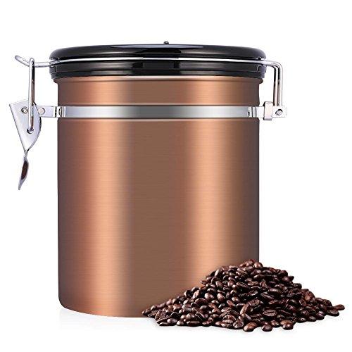 Fdit Edelstahl Kaffee Tee Bohnen Behälter mit Entlüftungsventil Gesamtschutz vor Oxidation(gold)