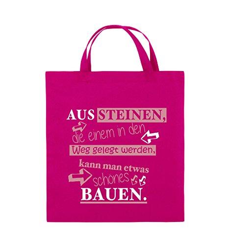 Comedy Bags - Aus Steinen, die einem in den Weg gelegt werden, kann man etwas schönes Bauen. - Jutebeutel - kurze Henkel - 38x42cm - Farbe: Schwarz / Weiss-Neongrün Pink / Rosa-Weiss