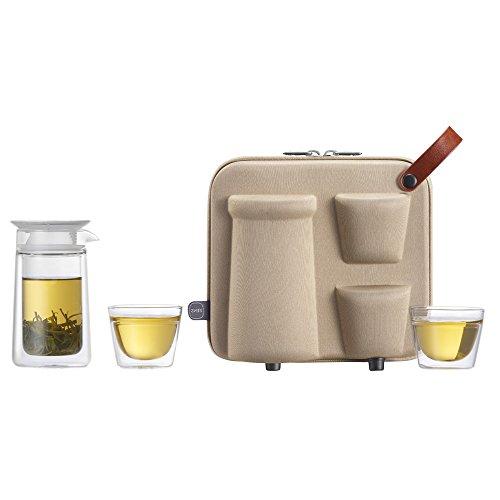 ZENS Glaskanne Set Tragbar Teeflasche mit Sieb Glasflasche mit Infuser Teezubereiter mit 2 x doppelwandigen Tasse, 1x Tragetasche für Reise Picknick Camping unterwegs Mobiles Mond-Teeservice,Hellbraun