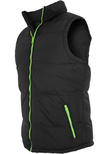 Urban Classics TB299 Contrast Bubble Vest Piumino Smanicato Uomo Regular Fit Black Lime Green
