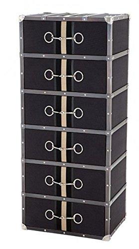 Casa Padrino Luxus Schubladen Schrank im Vintage Koffer Design Dark Grey Canvas mit 6 Schubladen - Kommode - Art Deco Barock Jugendstil Kofferschrank