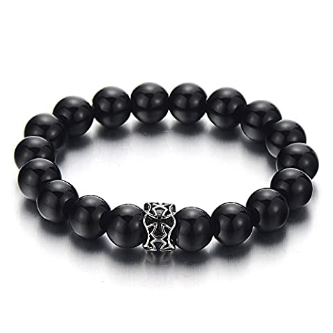 Mens Women Black Beads Bracelet with 10mm Black Onyx and Stainless Steel Charm of Cross