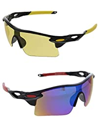 Vast Combo Of All Day And Night Vision Biking, Driving And Sports Unisex Sunglasses (YELLOW_BLUEMIRROR)