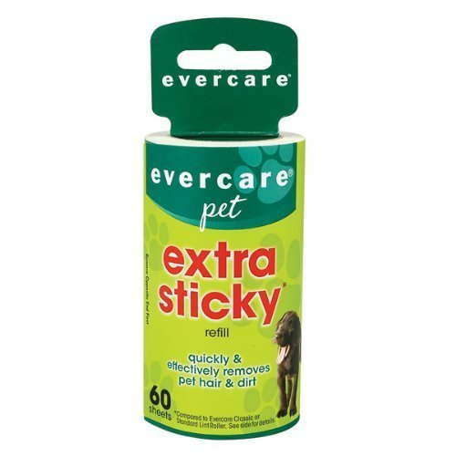 Pet Evercare Lint Refill Roller (Evercare Extra Sticky Pet Lint Roller Refill 60 sheets - Pack of 4 by Helmac)