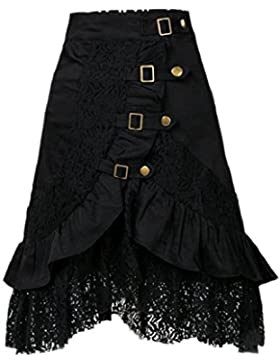 Las Mujeres Elegantes Faldas Con Volantes De Encaje Gotica De Doble Capa
