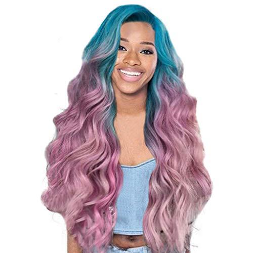 Rosennie Damen Frauen lange lockige gerade gewellte synthetische volle Perücke rosa lila Cosplay Europa Mode Mädchen natürliche lange gerade Perücken afro Künstliches Haar Perücken (Lila) (Bunte Afro-perücken)