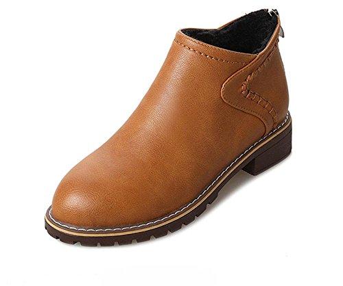 Womens Stiefel Heels (KUKI Martin Stiefel Stiefel plus Samt wild rau mit runden weiblichen Schuhen , 2 , US5.5 / EU35 / UK3.5 / CN35)