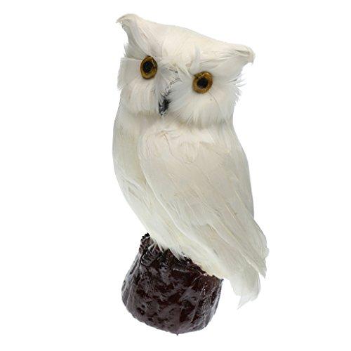 Eule Vogel mit Feder Dekovogel Kunstvogel Figuren Modell - Weiß # 4, 12 x 18cm ()