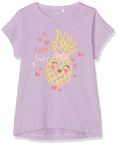 NAME IT Mädchen NMFVEEN CAPSL TOP J T-Shirt, Violett (Lavendel Lavendula), (Herstellergröße: 110) -