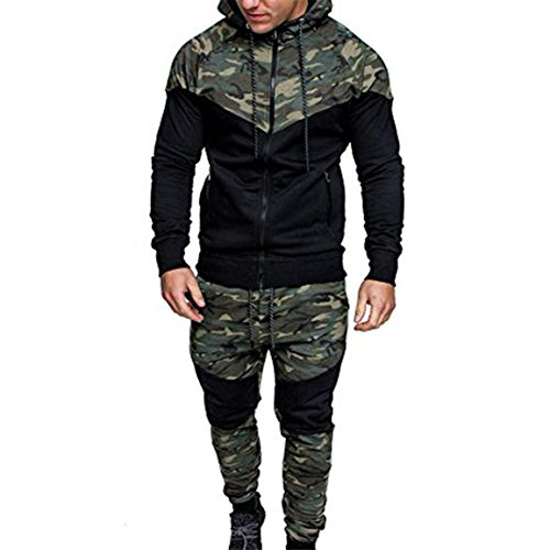 Camouflage Pullover pour les hommes,Bellelove Hommes Sport Suit Survêtement Charme À Capuche Élastique Blouse Zipper Outwear Automne Hiver Camouflage Sweat Top Ensembles de Pantalons (UE 38 / Asie L, Blouse + Pantalon (B))