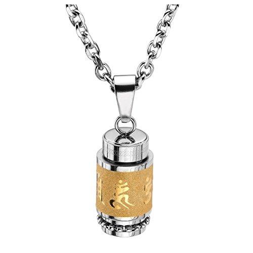 Zysta Edelstahl Memorial Urnen Anhänger Halskette Tibetische Gebetsmühle Kette Gravur mit OmManiPadmeHum + Trichter füllen Kit (Gold) - Gebetsmühle Tibetische