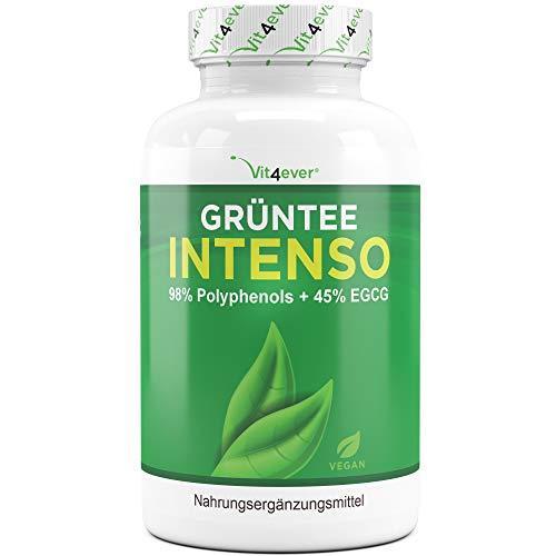 Vit4ever® Grüntee Intenso - 130 vegane Kapseln mit 685 mg Grüner Tee Extrakt - 98% Polyphenole & 45% EGCG - Hochdosiert - Verbesserte Bioverfügbarkeit durch Piperin - Green Tea