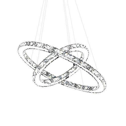 SAILUN 63W Warmweiß LED Kristall Design Hängelampe Zwei Ringe Deckenlampe Pendelleuchte Kreative Kronleuchter Lüster LED Deckenleuchte
