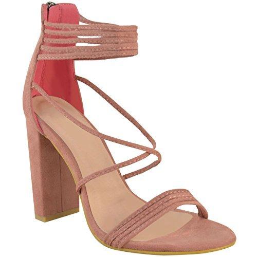 donna con spalline Tacco Largo Alto Punta Aperta Chunky SERA sandali scarpe numero pastello rosa camoscio sintetico