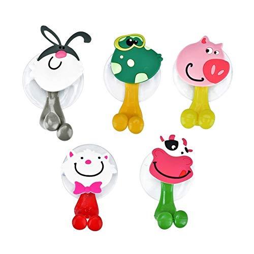 5 Stück Zahnbürstenhalter Cartoon Tiere Sauger Haken Plastik f. Kinder Neu Süß