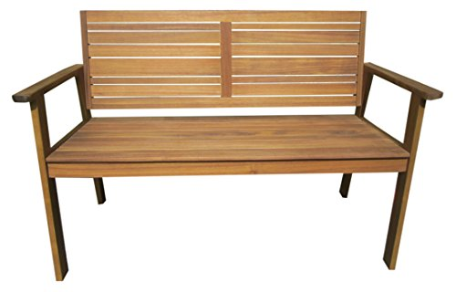 greemotion 128650 Holz Gartenbank MAUI 2 Holzbank mit Rückenlehne-Garten Friesenbank wetterfest-Bank zum draußen Sitzen aus FSC Akazienholz, Grau, 11,5 x 6 x 1,4 cm