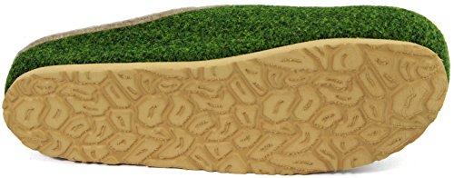 Pantofole in feltro, zoccoli con plantare Uomo Slipper unisex adulto Oliva