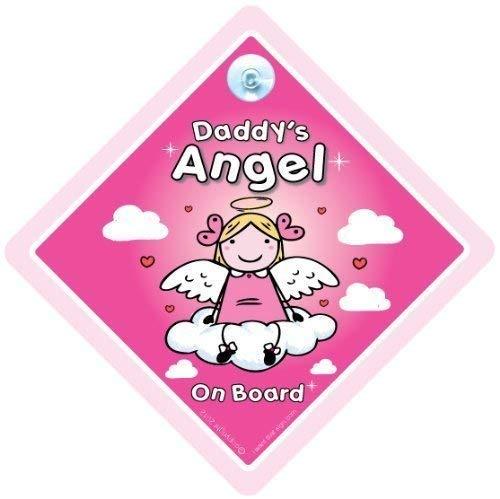 Daddy's Ange sur Board, Daddy Ange de panneau, Daddy Ange de panneau de voiture, bébéà bord, Breloques Ange on Board, panneau bébé, signe, Angel signe pour voiture, autocollant, Sticker pare-chocs, panneau bébé, bébé en voiture, Paternité