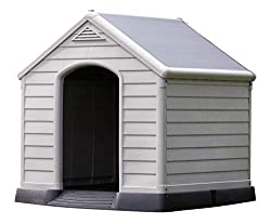 Chalet-Jardin Garden 12-921177Kennel Dog PVC/Resin 95x 99x 99cm beige/brown