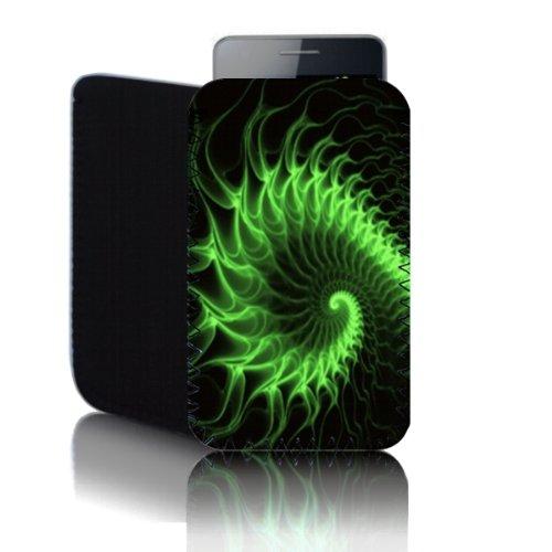 BIZEBEETAB biz-e-bee Green Psychedelic Swirl 'Samsung Galaxy Ace Plus GT S7500(M) resistente agli urti neoprene custodia, copertura, sacchetto