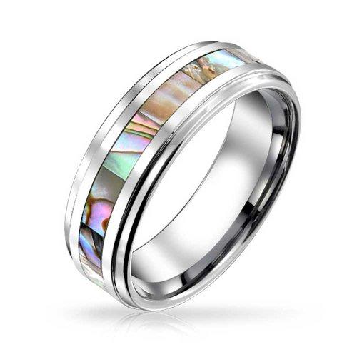 Bling Jewelry Regenbogen Abalone Inlay Paare Ehering Ringe Tungsten Ringe Für Herren Für Damen Comfort Fit 8MM - Ehering 8mm