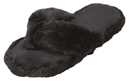 forever-dreaming-ladies-memory-foam-faux-fur-flip-flop-style-indoor-slippers-black-size-6