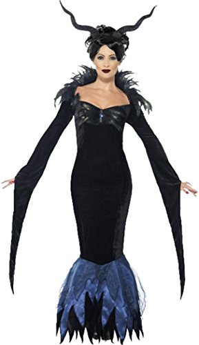 Damen Halloween Horror Fancy Kleid Party Maleficient Lady Raven Kostüm Outfit, Schwarz