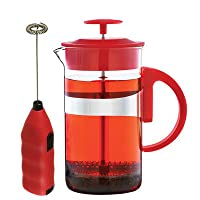 GROSCHE Cafe Au Lait Coffee and Tea Lover's Gift Set. 34 oz French Press and Milk Frother Wand Red