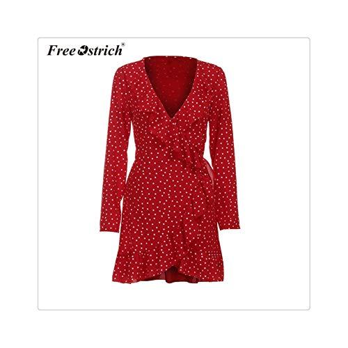 GELORT& Dress Chiffon Dress Women Long Sleeve Ruffles Lace Up Star Print Slim Dress Elegant Party Vestido Red XL (Up Crazy-dress Ideen)